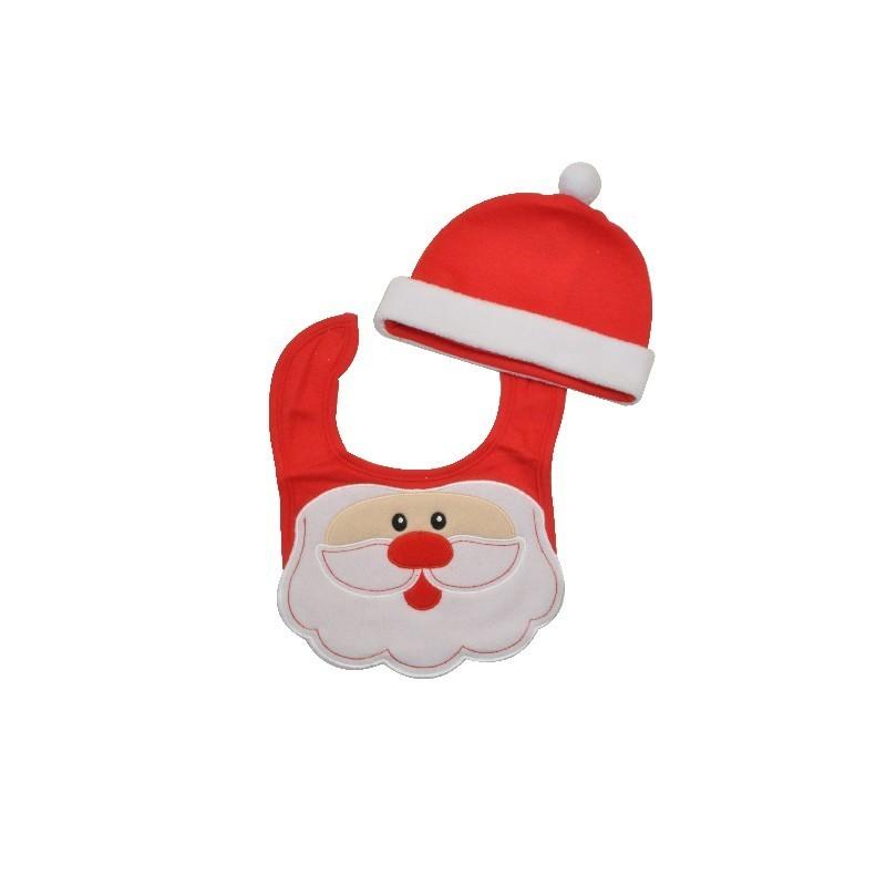 Set Bonnet bébé et Bavoir Noël 91854