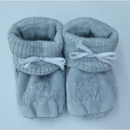 Chaussons HAPPY BABY 50%PAPA 50%MAMAN GRIS ARGENT