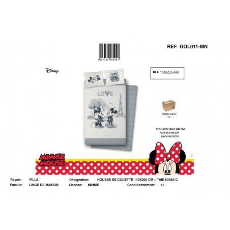 Housse de Couette MICRO MINNIE&MICKEY 070 / GOL011-MN